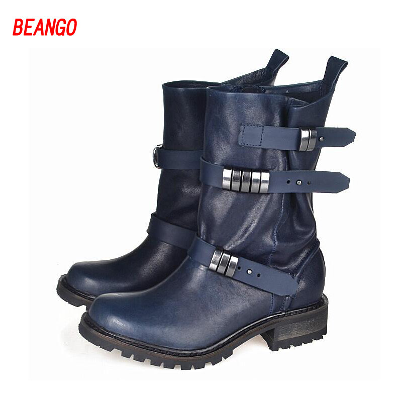 BEANGO Winter New Women Short Motorcycle Boots Fashion Genuine Leather Flats Casual Shoes Woman Metal Buckles
