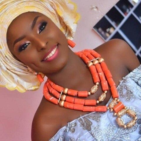 Conjunto de Jóias de Casamento Contas de Coral Colar com Bolas de Ouro Moda Beads Africanos Nigéria Colares 3 Camadas Conjunto Dubai Grupo Free Navio