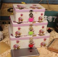 3PCS SET Large Iron Napkins Cosmetic Set Gift Tin Candy Box Birthday Gift Printting Box With