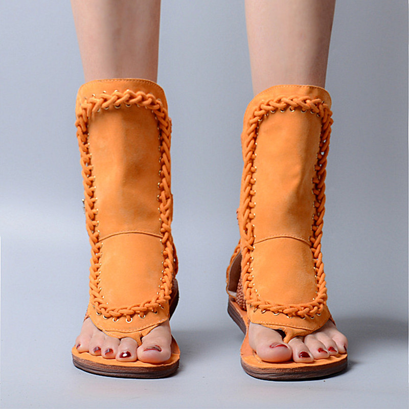Prova perfetto 검투사 스타일 암소 스웨이드 가죽 버클 스트랩 오픈 발가락 신발 화려한 플랫 바닥 소프트 단독 중반 높은 샌들-에서여성용 샌들부터 신발 의  그룹 2