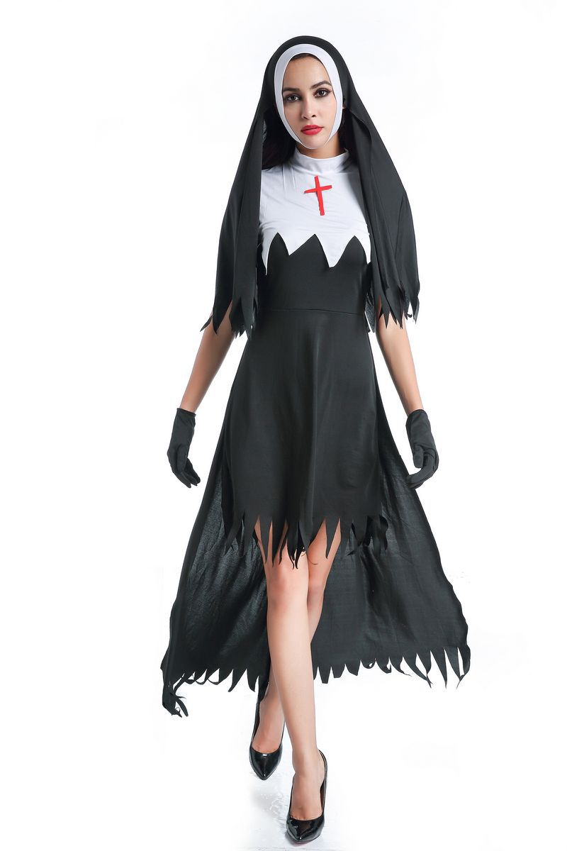 2018 New Halloween Adult Women Black Cross Nun Vampire Gothic Lolita Dress Cosplay Costumes Fancy Roleplay Dress Party Supplies