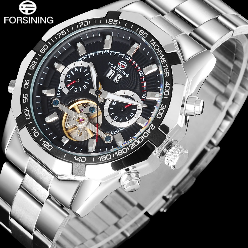 лучшая цена FORSINING Business Brand Men's Watch Silver Stainless Steel Band automatic Mechanical toubilion Wrist Watches relogio masculino