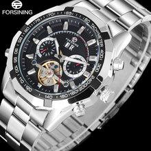 FORSINING Marca Negocio de Los Hombres del Reloj de Plata de Acero Inoxidable Band Mecánico automático toubilion Relojes relogio masculino