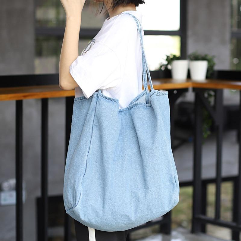 Denim Big Capcity Tote Bag Women Fashion Classical Handbag Female Fabric Casual Leisure Beach Summer Oversize Top-handle Purse