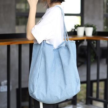 Denim Big Capcity Tote Bag Women Fashion Classical Handbag Female Fabric Casual Leisure Beach Summer Oversize Top-handle Purse