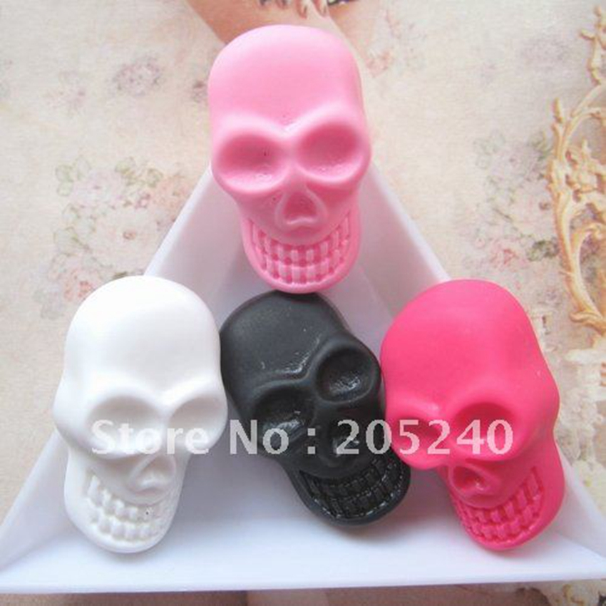 20pcs Mixed 4colors Hot Sale For Diy Decoration Really So Cute Flat Back Resin Skull