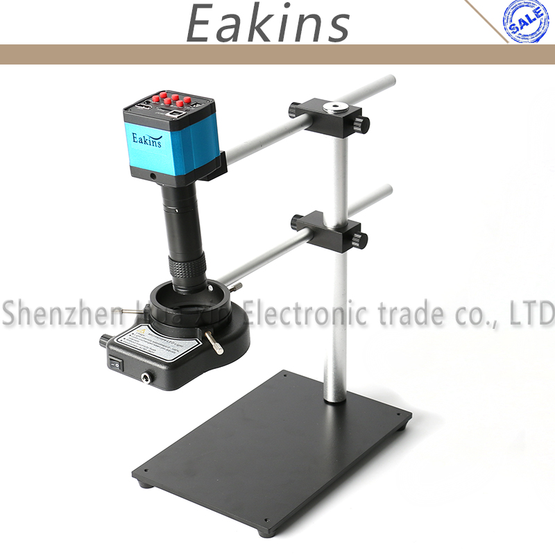 21MP Industry Camera HDMI <font><b>USB</b></font> Video <font><b>Microscope</b></font> Adjustable Dual Rotatable Boom Stand Holder+144LED Light+<font><b>100X</b></font> C-mount Lens image