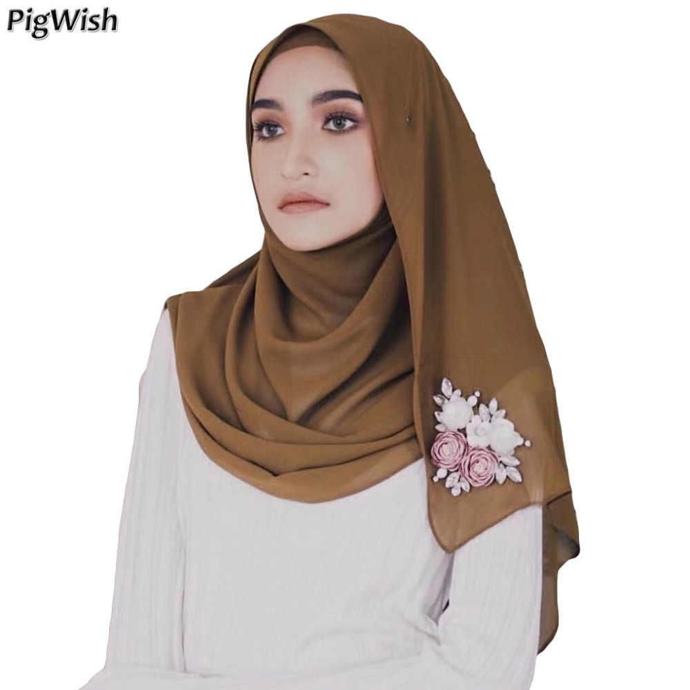 1d20842e336 Muslim Chiffon Hijab Scarf Abaya Caps Turban Femme Pearls Floral Headscarf  Islamic Clothing Malaysia Scarf Scarves Abaya Dubai