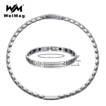 WelMag Stainless Steel Jewelry Sets for Women Silver Crystal Magnetic Germanium Necklace Bracelet Arthritis Dropship 2019 new korean luxury gold color stainless steel magnetic necklaces for women power magnetic germanium necklace energy jewelry