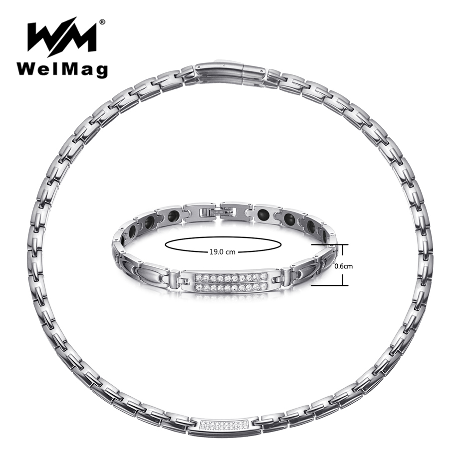 WelMag acier inoxydable bijoux ensembles pour femmes argent cristal magnétique Germanium collier Bracelet arthrite livraison directe 2019