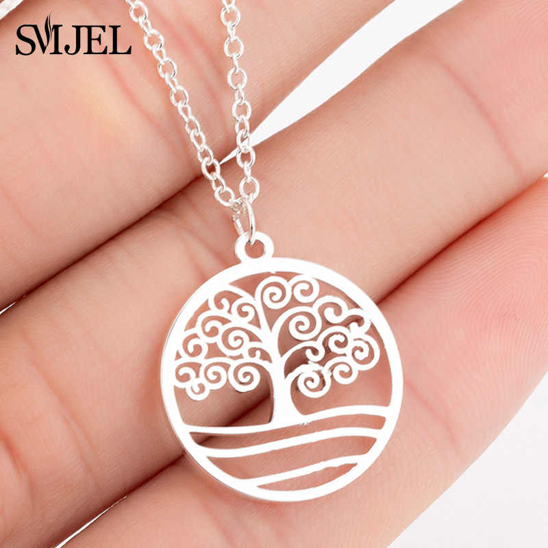 SMJEL Fashion Tree of life Stainless Steel Necklace Women Lovely Jewellery Round Charm Necklaces Choker  joias feminina