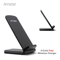 Fast Qi Wireless Charger 2 Coil 10W Quick Wireless Charging Stand Qi Wireless Charging Receiver