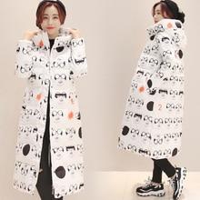 New Arrival Auturm Winter Women Down Coat Jacket X Long Parkas Print Thick Cotton Warm Outwear