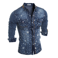 Brand Style Blue Jeans Star Prints Collar Shirt Men Casual Cotton 2017 Autumn Fashion Long Sleeve