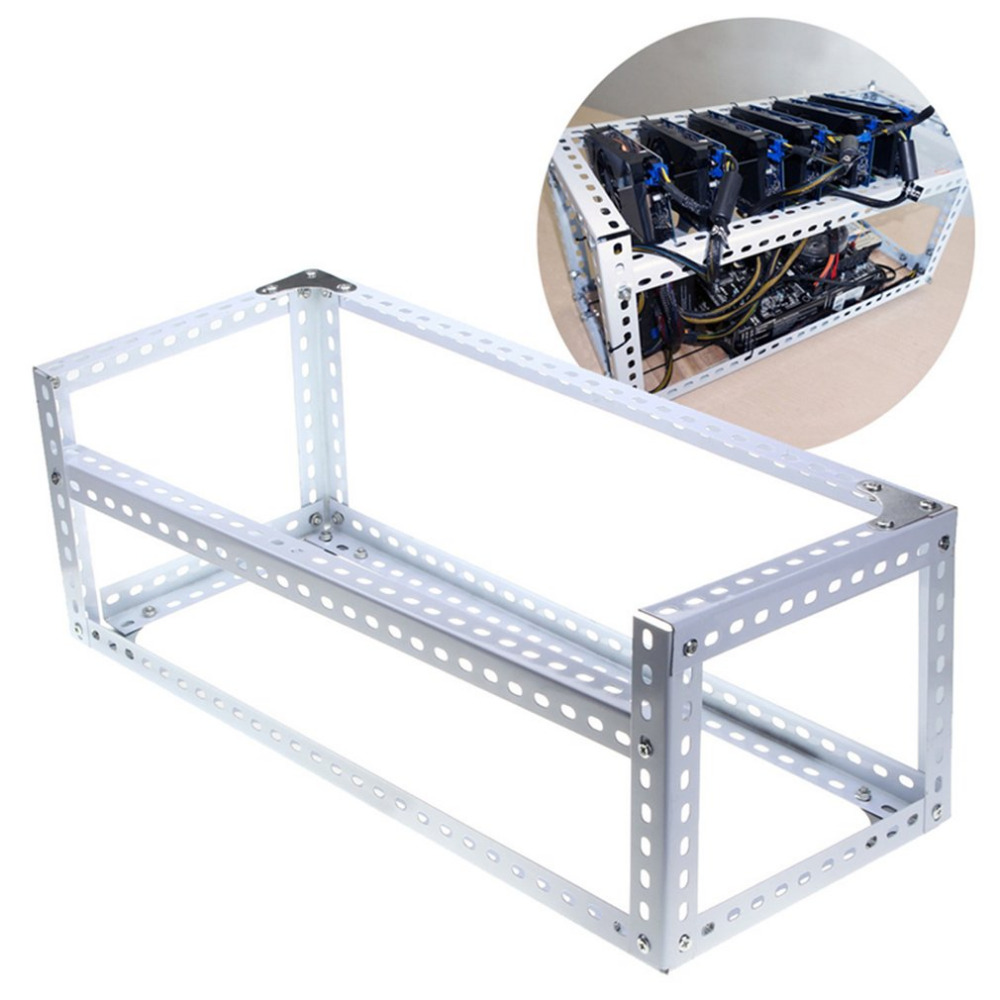 Durable DIY Installing Aluminum Steel 6 GPU Mining Miner Rig Case Open Air Frame Suitable for ETH BTC Ethereum