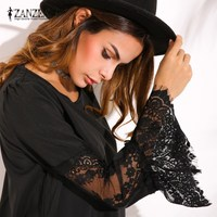2017 ZANZEA Womens Lace Crochet Splice Hollow Out Flare Sleeve Loose Cocktail Sexy Party Casual Mini