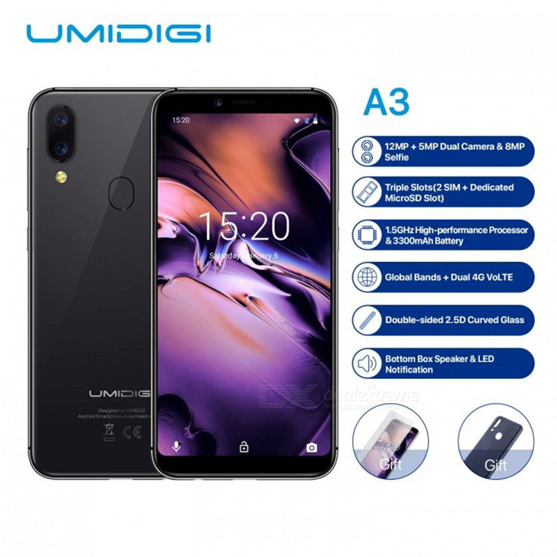 UMIDIGI A3 Global Band  5.5quotincell HD+display 2GB+16GB smartphone Quad  core  Android 8.1 12MP+5MP Face Unlock Dual 4GUMIDIGI A3 Global Band  5.5quotincell HD+display 2GB+16GB smartphone Quad  core  Android 8.1 12MP+5MP Face Unlock Dual 4G