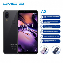 UMIDIGI A3 Global Band 5.5quotincell HD+display 2GB+16GB smartphone Quad core Android 8.1 12MP+5MP Face Unlock Dual 4G