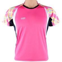 TSP wysokiej jakości tenis stołowy różowy Koszulki damskie szkolenia T-shirty ping pong koszule tkanina Krótki rękaw Sportswear 83303 tanie tanio Kobiet Pasuje do rozmiaru Weź swój normalny rozmiar