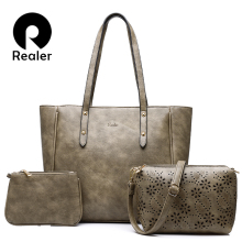 REALER bag sets women handbag casual artificial leather tote