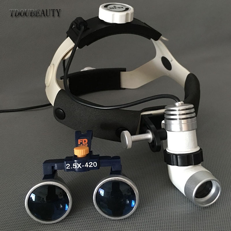 High Ratio Of Kepler Head Lamp Holder Lamp Magnifying Glass, 2.5 X/3.5 X 420mm Dental Head lamp Magnifying Glass Free Shipping 3pcs set dental instrument dental x ray sensor positioner holder dental digital x ray film locator for dental lab free shipping