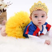 Snow White Girl Romper sukienka Tutu Princess Cosplay Baby Odzież zestawy Kids Girls sukienki party niemowlę Toddler kostium ubrania tanie tanio Dziecko Baby Girls Powyżej kolana mini Patchwork Bawełna Puff rękaw Koronki O-Neck Suknia balowa Styl Europejski i amerykański