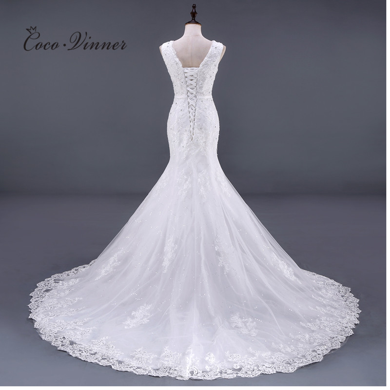 Elegant V Neck Sleeveless Appliques Beading Lace Mermaid Wedding Dress
