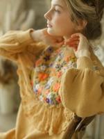 Оригинальный дизайн осень зима женские винтажные Мори девушки Витория милые длинные ручной работы вышивка кружева вязаные длинные желтые
