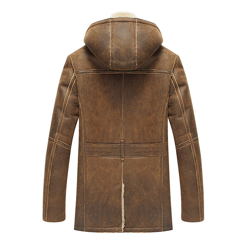 8844ad683 US $1399.0 |Denny&Dora Mens Shearling Hooded B3 Coat Long Regular Fit  Jacket B2 Military Style Sheepskin Leather Jacket-in Genuine Leather Coats  from ...
