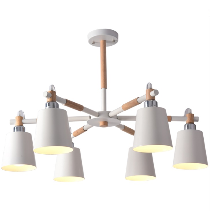 Pendant Lamp with Wood Arm and Metal Shade, Sweden Design 3/6/8 Lights