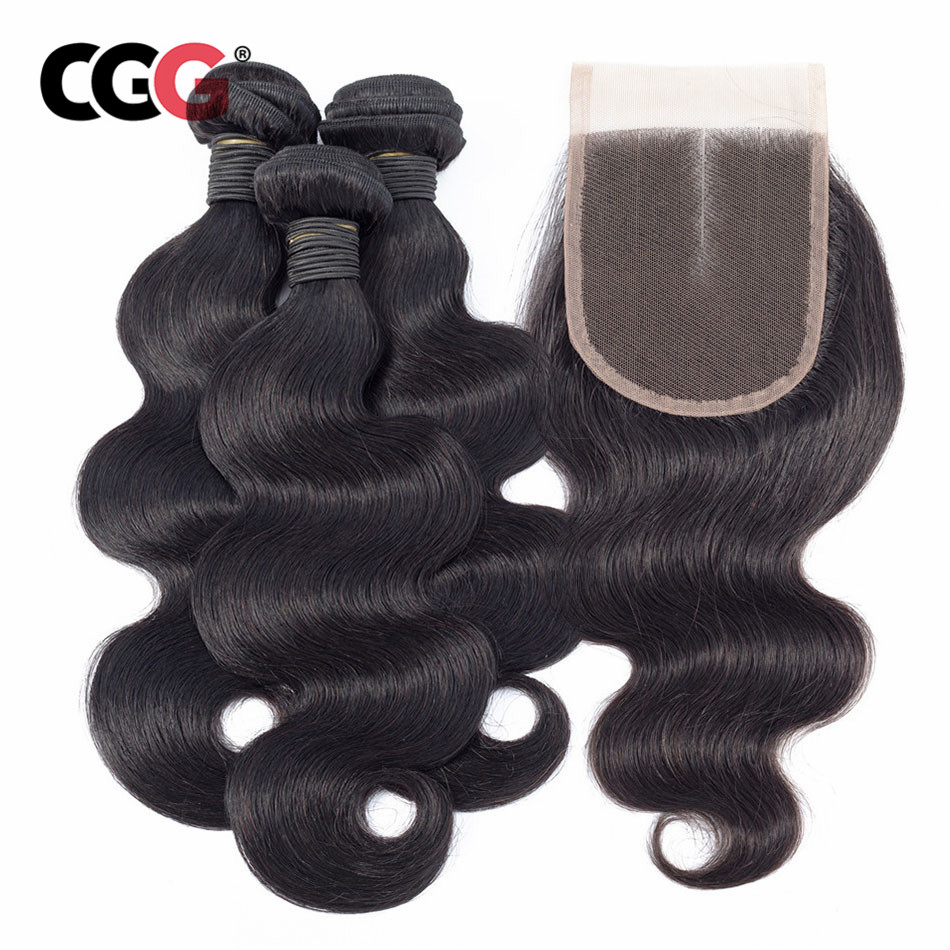 CGG Human Hair Bundles With Closure 3 PCS Brazilian Body Wave Non Remy Human Hair Weave Bundles 8 26 Inch Hair Extension-in Closure & Frontal Wigs from Hair Extensions & Wigs    1