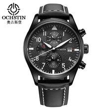 Reloj de los hombres Del Deporte Militar OCHSTIN Calendario Resistente Al Agua Reloj de Cuarzo Banda de Cuero Relojes Para Hombres de Negocios Tienda de Relojes Orologi