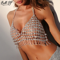 Sexy Women Metal Tassel Chest Chain Crystal Diamond Crop Top Halter Hollow Tank Camis Bra Strap
