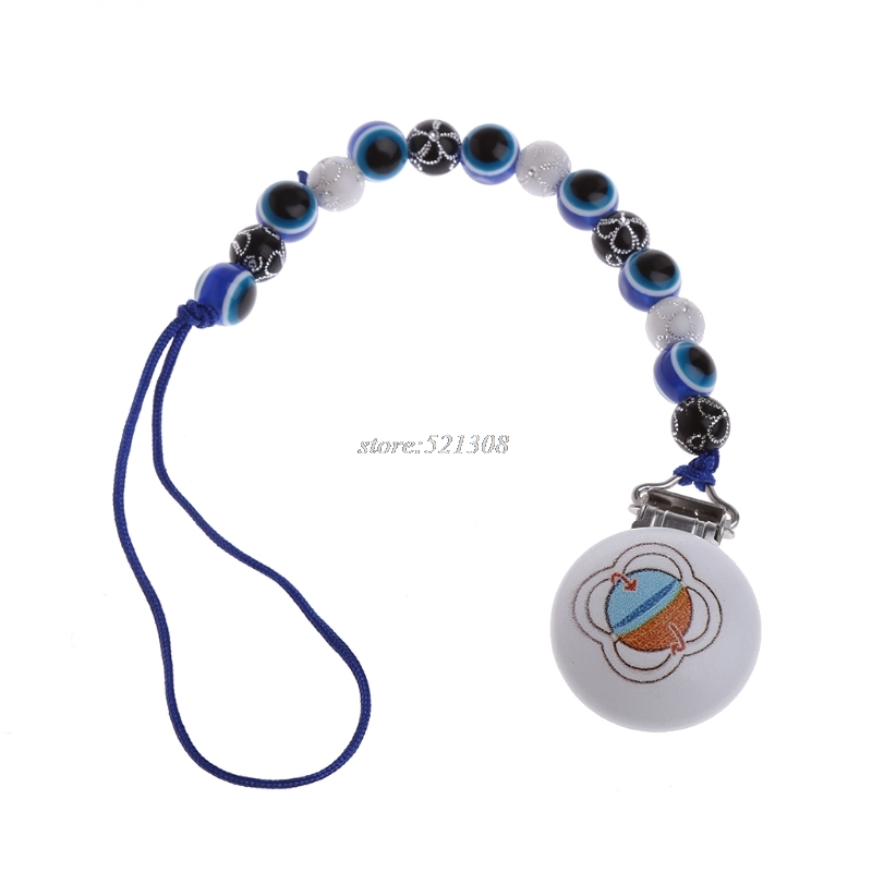 Baby Pacifier Clip Pacifier Chain Hand Made Blue Eyes Beads Dummy Clip Baby Soother Holder For