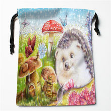 New Mushroom fairy tale printed storage bag 27x35cm Satin drawstring bags Compression Type Bags Customize your image gifts