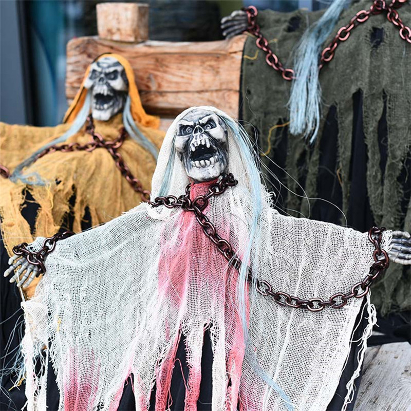 Home & Garden Bright Halloween Horror Props Chain Big Hanging Ghost Decoration Electric Toy Haunted House Horror Layout Skeleton Scare Skull Pendant With Traditional Methods