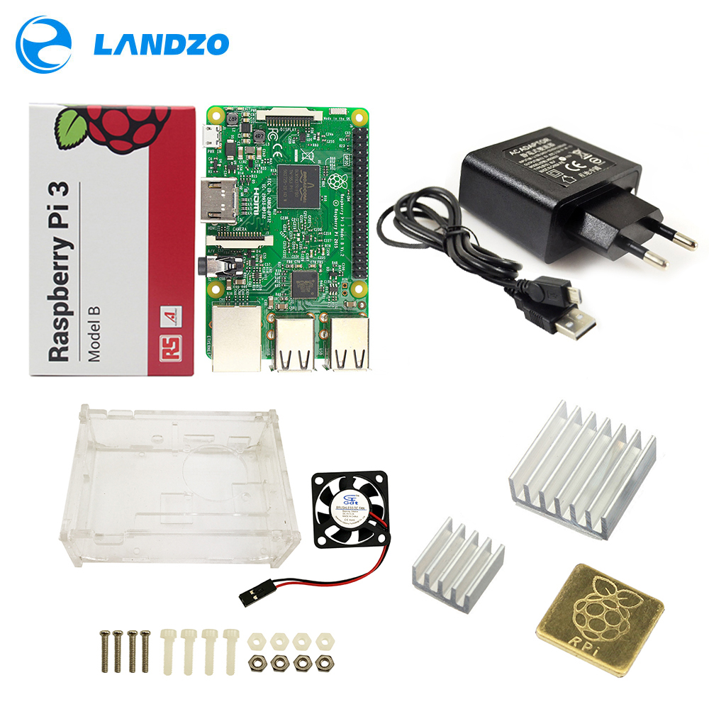 Raspberry Pi 3 Modell B Starter Kit Pi 3 + Acryl Fall + 2.5A Netzteil + USB Kabel + fan + Kühlkörper RPI 3