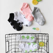 Korean Version Leisure Shallow Mouth Cotton Solid Color Print Short Sock Breathable Comfortable Women
