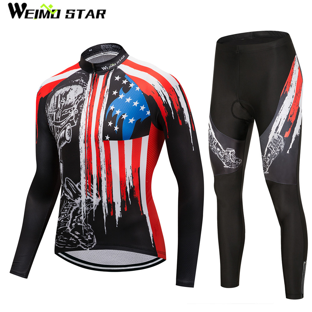 USA MTB Bike jersey Bib Pants Set Mens Cycling clothing Suit Ropa Ciclismo Maillot trouser Riding Long Sleeve bottom skull