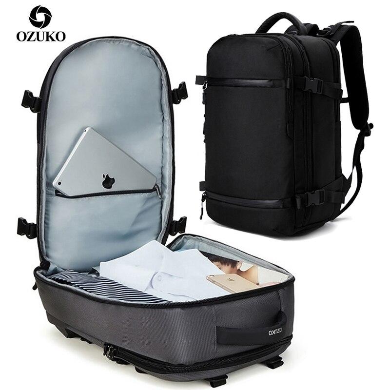 """남성 15.6 """"17"""" 인치 노트북 배낭 대용량 남성 여행 짐 가방 mochila 방수 usb 충전 팩 여성을위한-에서백팩부터 수화물 & 가방 의  그룹 1"""