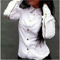 Slim Candy Colored Long Sleeved Shirt Zipper Rivets