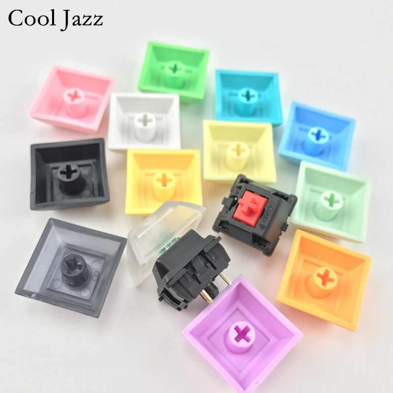 كوول جاز dsa pbt keycap 1u mixded اللون أخضر أصفر أزرق أبيض شفاف أغطية مفاتيح لوحة مفاتيح الألعاب الميكانيكية