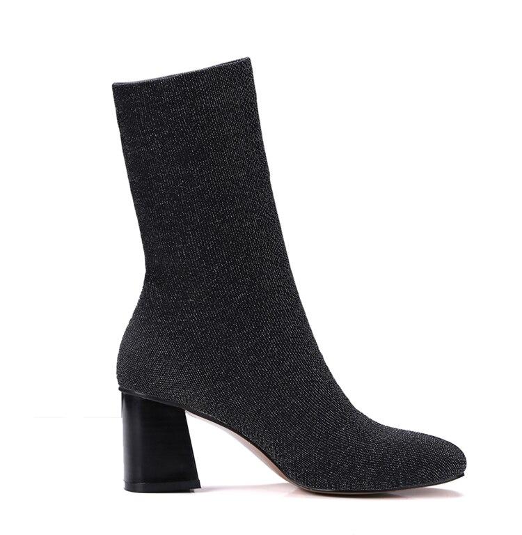 Dames De Mode Nouveau Hiver 2018 Épais Cheville Femmes Carré Automne Talon Bottes Chaussettes Tissu Bout Chaussures Sexy Noir Stretch MLVUpzGqS