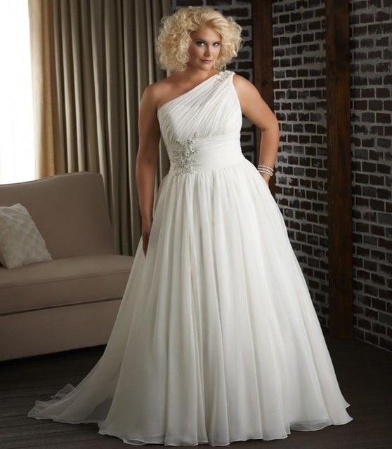 One Shoulder Long Ivory Chiffon Wedding Dress Plus Size Inexpensive