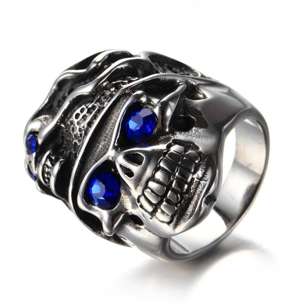 Mens Blue CZ Eyes Gothic Poker Skull Flower Stainless Steel Biker Ring Mens Jewelry