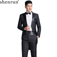 Shenrun Men Tuxedos Slim Fit Classic Tailcoat Skinny Suits White Black Wedding Stage Costume Piano Performance Singer 4 Pieces