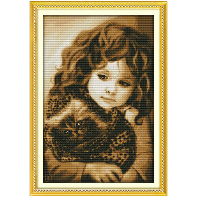 Girl And Cat Needlework Set Home Decor Printed Cross Stitch Needlework Patterns Cross Stitch Dmc Thread