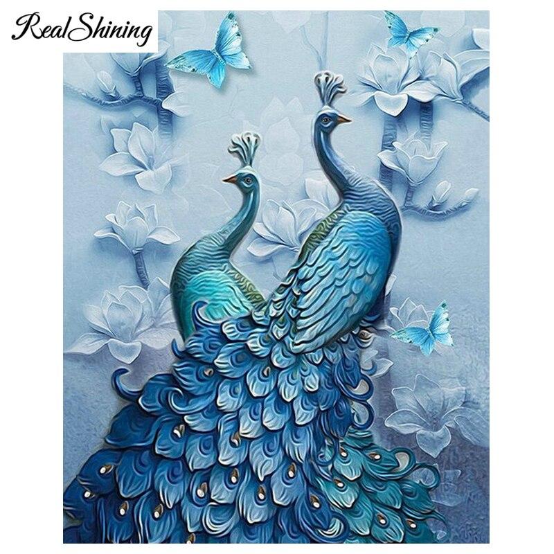 REALSHINING Full,Diamond Embroidery Peacock Butterfly diy diamond painting Stitch Cross,3D,Diamond Mosaic sale,almaznaya, FS1319