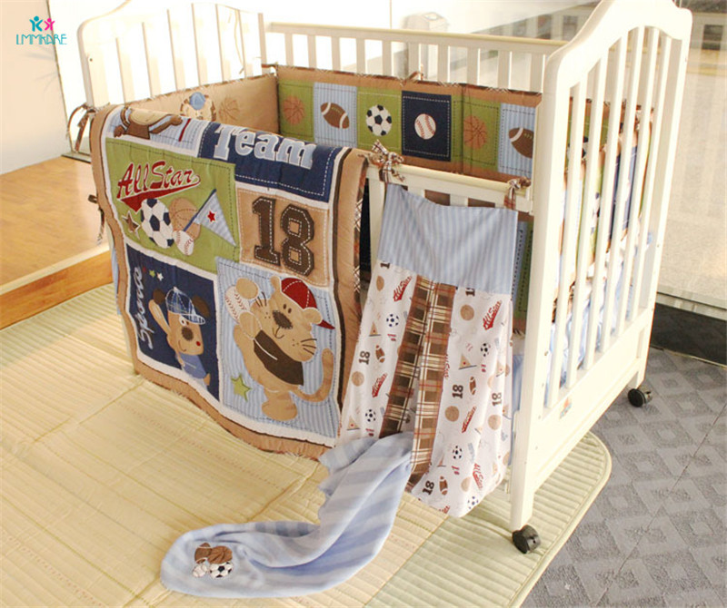 Baby Bumpers 100% Cotton Blue Cartoon Cute Printing Baby Boy's Bed Sheet Quilt Blanket Soft Embroidery Infant Baby Bedding Sets