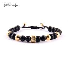 WML 8mm bead Men Bracelet Luxury Pave black CZ Column charm macrame braided Bracelets & Bangles for men Jewelry wml 8mm bead men bracelet luxury pave black cz column